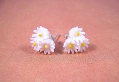 Flower Post Earrings Daisy Bouquet Flower Cabochon by justEARRINGS, $10.00