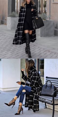Black Coat - Trendy Shoes For Women Trendy Fall Outfits, Fall Winter Outfits, Autumn Winter Fashion, Mode Outfits, Stylish Outfits, Fashion Outfits, Fashion Heels, Mode Streetwear, Winter Stil