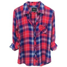 Rails Hunter Shirt In Cobalt Cherry White ($136) ❤ liked on Polyvore featuring tops, shirts, flannels, plaid, plaid top, plaid flannel shirt, plaid shirt, plaid button down shirt and tartan shirt