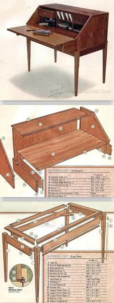 Federal Secretary Desk Plans - Furniture Plans and Projects | WoodArchivist.com #woodworkingprojects