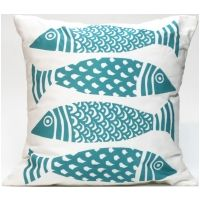 Macrame Fish Turquoise Pillow