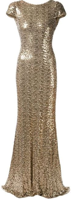 Draped back sequined gown