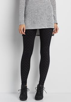 fleece lined legging with textured chevron stripes