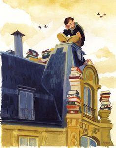Llegint, llegint, llegint...il·lustración de Manuele Fior