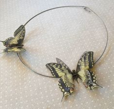 Flying - Handmade Necklace with Swallowtail Pale Yellow Butterflies in Cotton and Silk Organza - One of a Kind