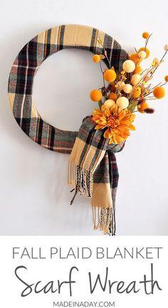 Fall Plaid Scarf Wreath, Make a fun wreath for fal…