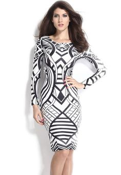 Tribal Aztec HerFashion Black White Tight-fitting Midi Dress ❤ 'Add this one to your wishlist!'  #partywear #womenfashion