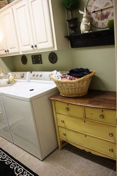 Laundry Room. Love the dresser idea for a folding table and storage for gloves and such if it also your mud room!!