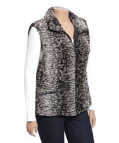 Look at this #zulilyfind! Off-White & Light Gray Faux Fur Vest - Plus #zulilyfinds