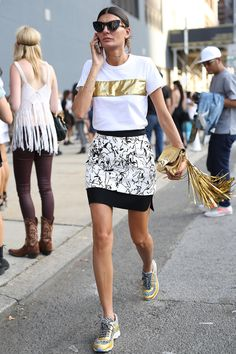 Giovanna Battaglia punched up her mini with some gilded accents.