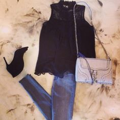 """""""JBRAND"""" Mid Rise Super Skinnies in Onyx with """"Blaque Label"""" Crochet Lace Tank Top and """"Vince Camuto Signature"""" Ronan Black Open Bootie and """"Rebecca Minkoff"""" Cream Snake Mac Bombe Purse"""