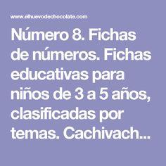 Número 8. Fichas de números. Fichas educativas para niños de 3 a 5 años, clasificadas por temas. Cachivache, fichas para niños
