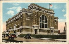 Armory, O. (Ohio National Guard) Akron, Ohio Used White Border postcard postmarked 1921 5 wide x 3 tall Some soiling front and back; The Buckeye State, Akron Ohio, National Guard, Historical Photos, Big Ben, New York City, Places To Visit, Louvre, History