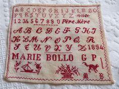 Antique French sampler abc alphabet by MyFrenchAntiqueShop on Etsy,