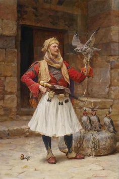 Oil painting male portrait Arab people man with bird hawk hand painted in oil Albanian Culture, Jean Leon, Greek Soldier, Empire Ottoman, Arabian Art, Classic Paintings, Historical Art, Islamic Art, Art History