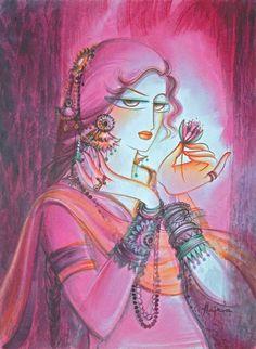 Krishna Painting, Indian Artist, Art Drawings Sketches Simple, Indian Paintings, Love Painting, Acrylic Paintings, Ganesha, Bird Art, Goddesses