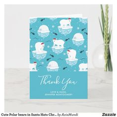 Cute Polar bears in Santa Hats Christmas Thank You Card Arctic Polar Bears, Cute Polar Bear, Christmas Thank You, Love Hug, Plant Design, Santa Hat, Custom Greeting Cards, Thoughtful Gifts, Your Cards