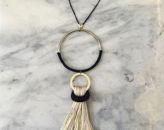 No. 7 // Fiber Necklace // Tassel Necklace by wildcolumbinetextile