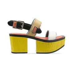 Kenzo 235281 ($335) ❤ liked on Polyvore featuring shoes, sandals, yellow multi, yellow platform shoes, wooden high heel sandals, yellow high heel shoes, yellow shoes and wood heel sandals