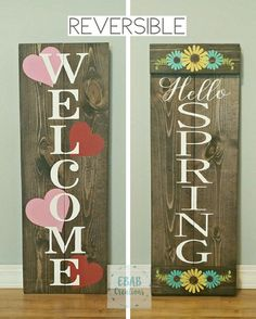 Reversible sign welcome sign valentine's day by ebabcreations wooden crafts, pallet crafts, diy crafts Pallet Crafts, Wooden Crafts, Pallet Projects, Painted Wood Crafts, Diy Crafts, Pallet Art, Diy Pallet, Easy Projects, Creative Crafts
