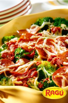 Pizza-Style Broccolli. Loaded with broccoli florets, turkey pepperoni, and a river of part-skim mozzarella cheese! Ragù Sauce ties this quick meal together - dinner in just 20 minutes.