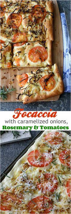 Focaccia with Caramelized Onion, Tomato & Rosemary Recipe #recipe