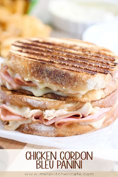 Chicken cordon bleu panini sandwich. All the flavors of chicken cordon bleu wrapped up in bread with a secret (3-ingredient) super simple sauce that'll make you cry. YUM!