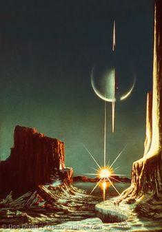Lucien Rudaux A View of Saturn from Titan Circa 1930 Art Print Suitable for Framing Fantasy Landscape, Fantasy Art, Trippy, Rpg Cyberpunk, Timeline Images, Sci Fi Kunst, Science Fiction Kunst, Arte Sci Fi, Hercule