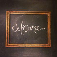 Chalkboard welcome sign/framed art