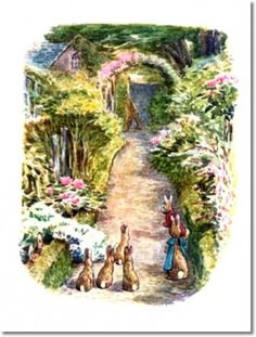 Beatrix Potter II - Beatrix Potter - The Tale of The Flopsy Bunnies - 1909 - Bunnies on Path Watch McGregor Enter His House Painting