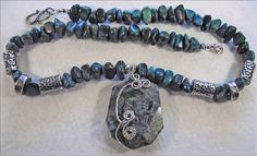 Chrysocolla Wirewrapped Pendant & Necklace - pinned by pin4etsy.com