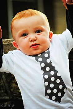 Gray & white polka dot tie shirt by Fit For A Prince.