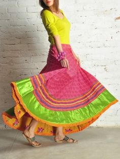 Magenta Block Print Cotton Skirt - Free Size