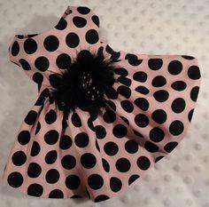 Dog dress, pink with black polka dots