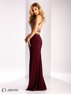 Clarisse 2017 prom dress style 3020. Fitted two piece prom dress in burgundy | Promgirl.net