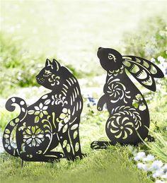 gartenstecker kleine katze aus metall, rost, edelrost | rusty, Garten und erstellen