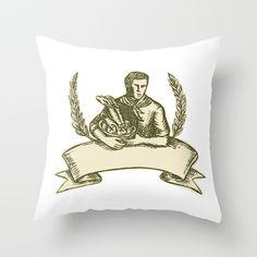 Organic Farmer Crop Harvest Etching Throw Pillow