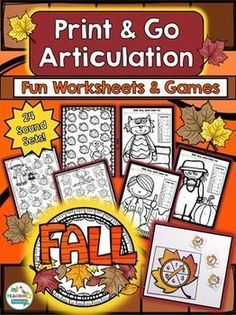 Fall Theme Articulation Print & Go Activities for Speech Therapy by teachingtalking.com