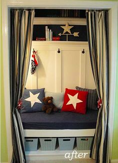 Several ideas for a closet reading nook- from Tip Junkie