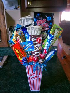 Candy bouquet! Perfect gift for a 9 year old boy! Throw in some cash and a gift card.