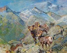 Rungius Carl   Bighorn Sheep O/C 16 x 20