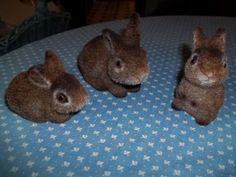 Lot of Three Vintage Josef Originals Fuzzy Bunny Rabbits