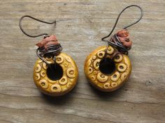 Rustic Boho Gypsy Green Polymer Clay Earrings Wire Wrapped with Sari Silk Ribbon and Patina Copper Wire Mixed Media Jewelry by SpontaneousSoul on etsy
