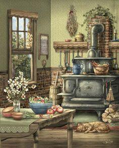Cross Stitch Designs, Bunt, Kitchen Art, Vintage Kitchen, Country Kitchen Cabinets, Cosy Kitchen, Illustrations Vintage, Illustration Art, Grandmothers Kitchen