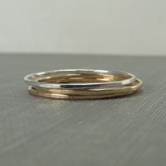 Thin Sterling Silver, Yellow Gold & Rose Gold Stackable Rings - Set of 3 Rings - Super Slim - Simple Modern Minimal Rings