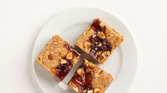 These salted peanut butter and jelly blondies aren't too sweet, so that strawberry jam on top is a perfect complement.