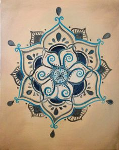 Buddhist Henna Inspired Lotus Painting