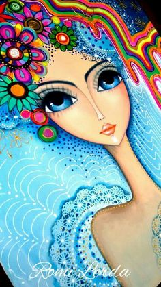 """Spirits of life"" 80 x Romi Lerda Doll Painting, Fabric Painting, Turkish Art, Arte Popular, Leaf Art, Whimsical Art, Indian Art, Cute Drawings, Female Art"