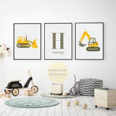 Toddler Boy Room Decor, Boys Bedroom Decor, Bedroom Ideas, Boy Bedrooms, Bedroom Art, Toddler Boys, Digger Bedroom, Construction Nursery, Personalized Wall Art