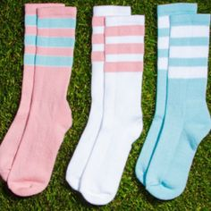Spring means NEW pastel Stripe Knee-High Socks! #AmericanApparel